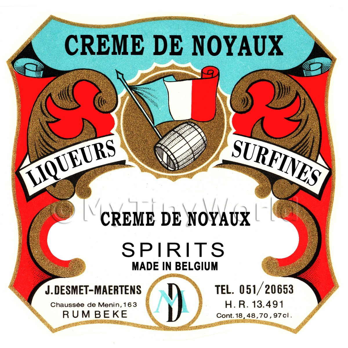 Creme De Noyaux Miniature Dolls House Liqueur Label