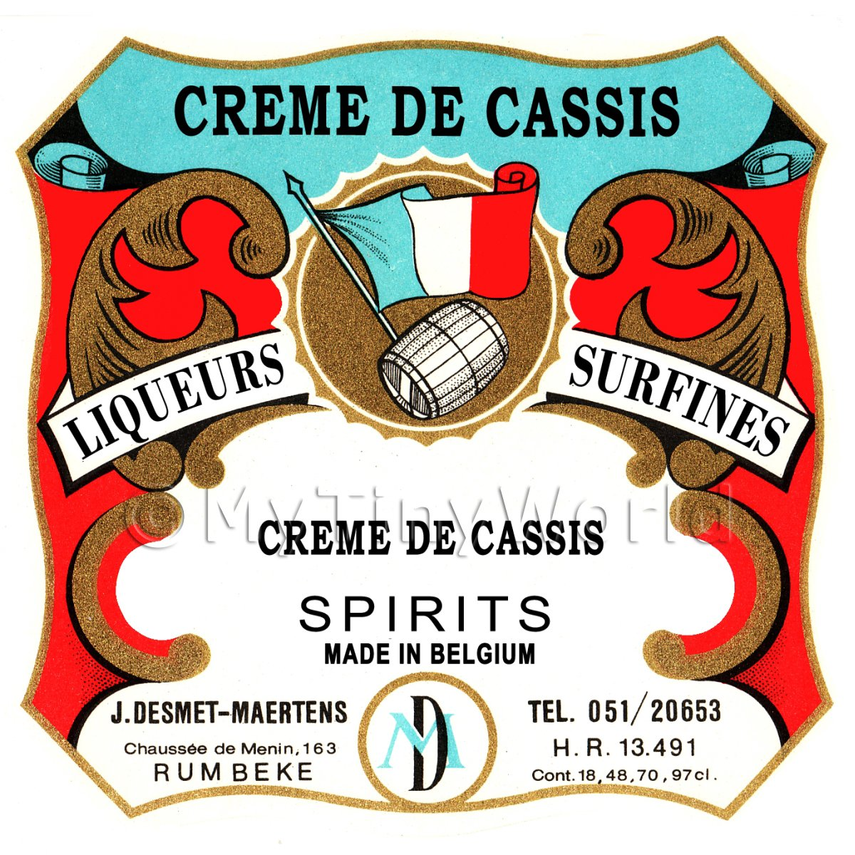 Creme De Cassis Miniature Dolls House Liqueur Label