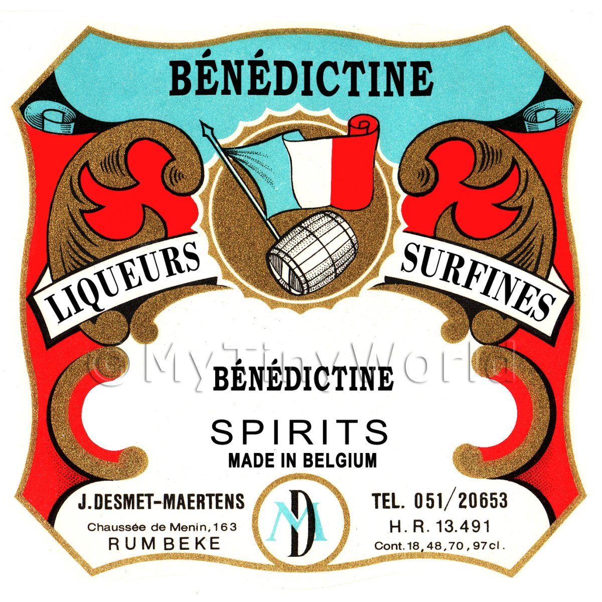 Benedictine Miniature Dolls House Liqueur Label