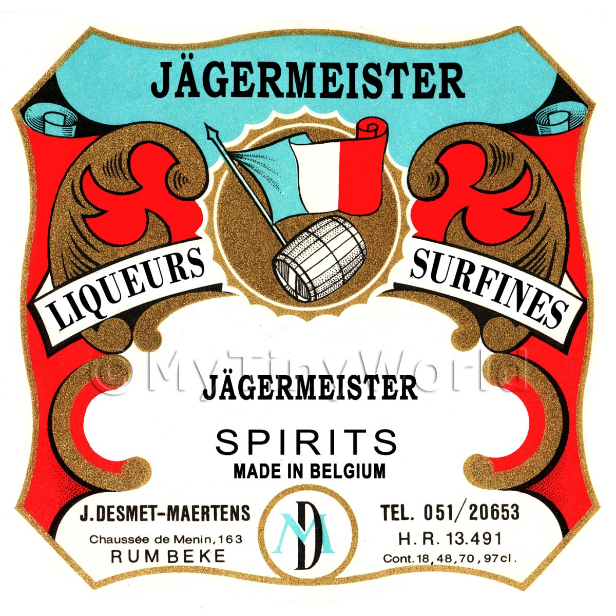 Jagerneister Miniature Dolls House Liqueur Label