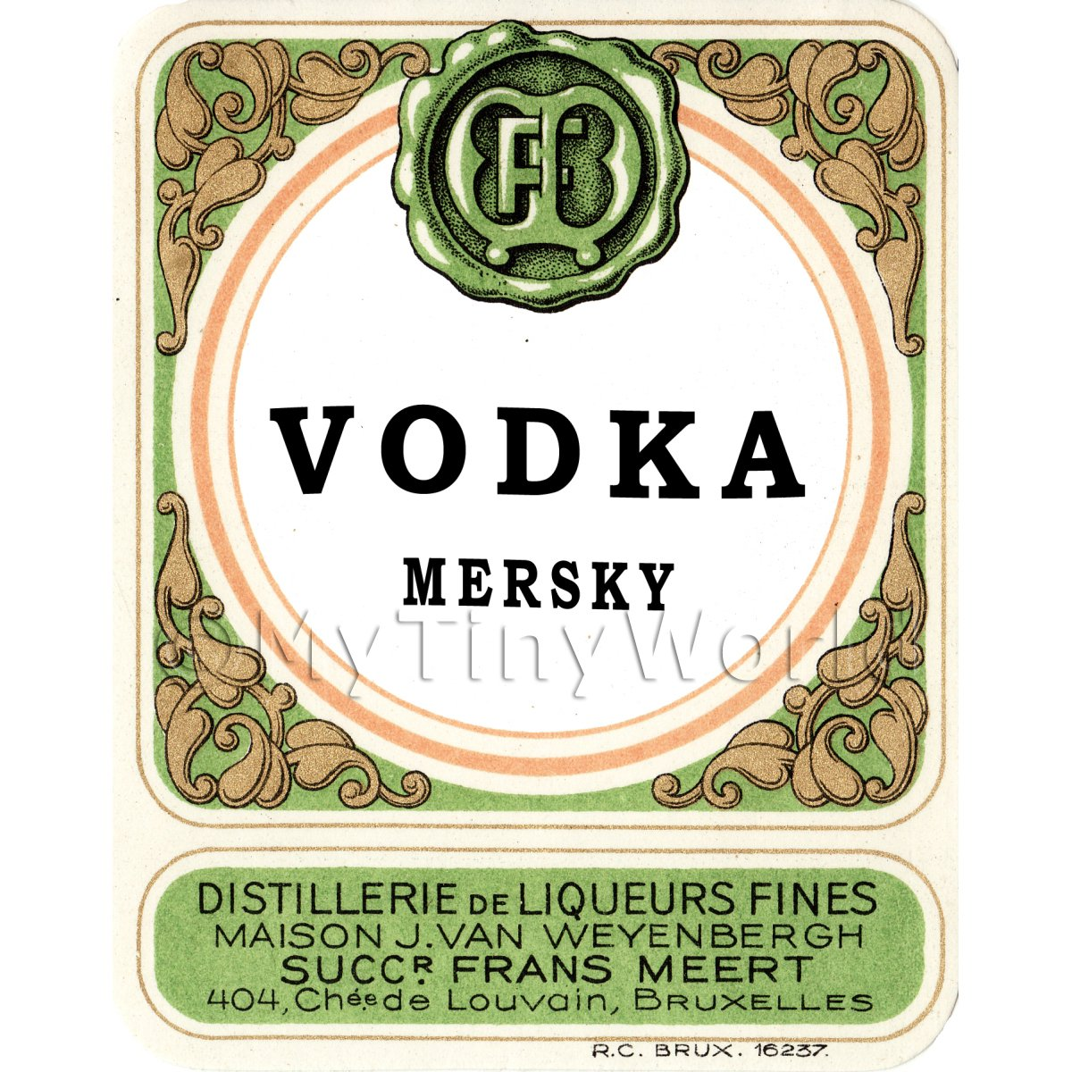 Vodka Mersky Miniature Dolls House Liqueur Label