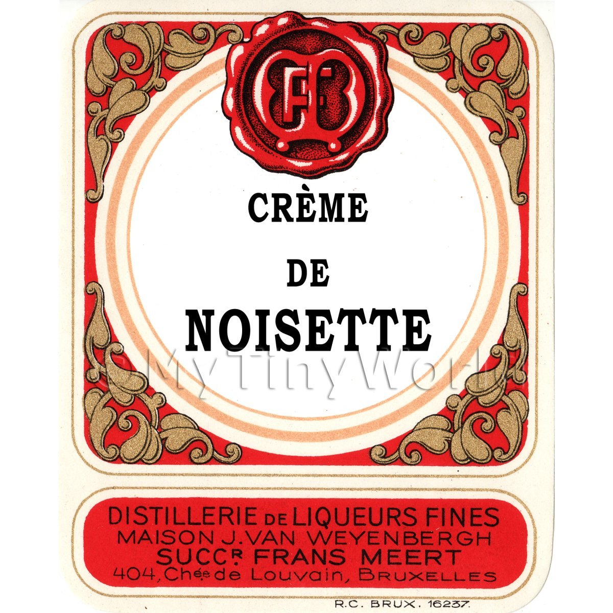 Creme De Noisette Miniature Dolls House Liqueur Label