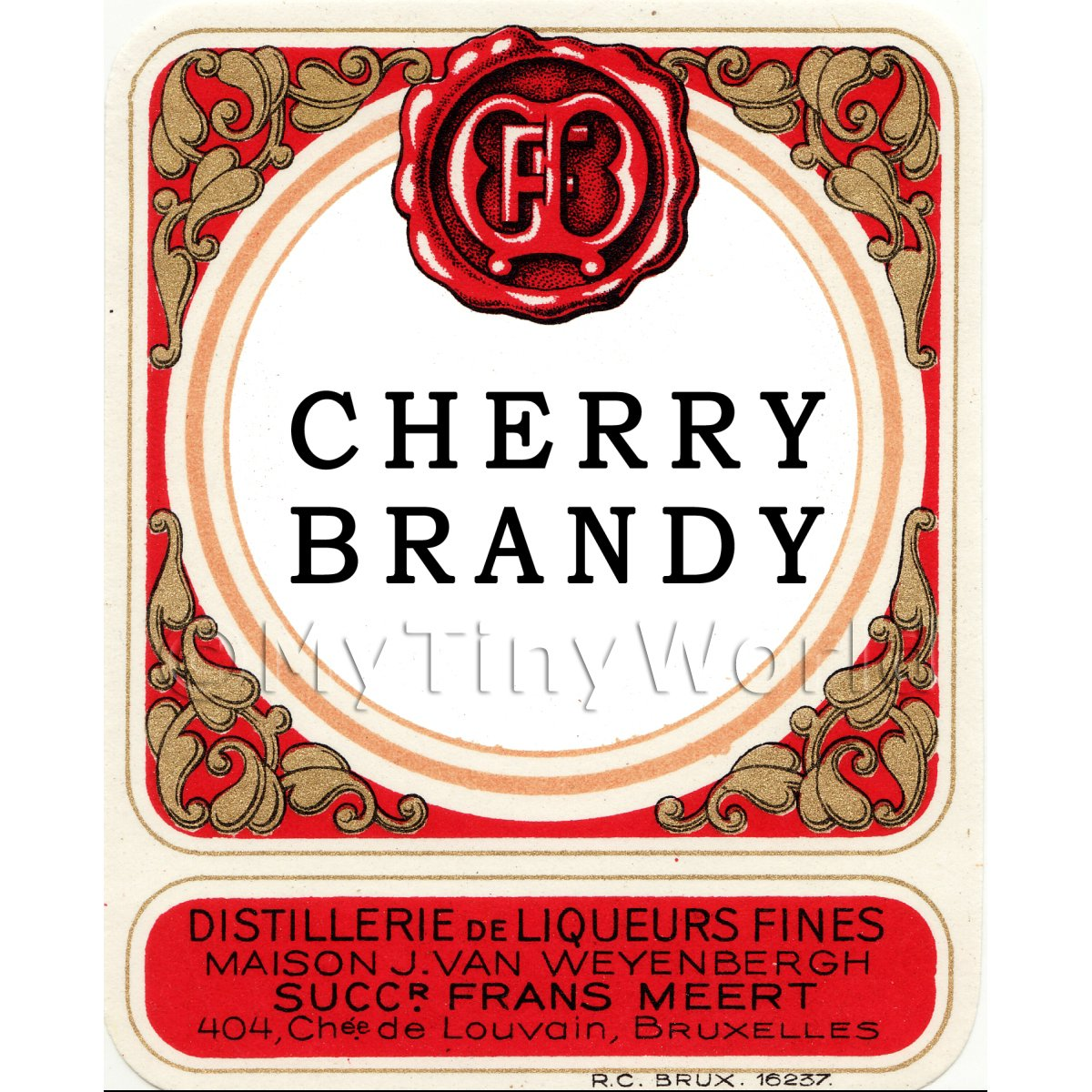 Cherry Brandy Miniature Dolls House Liqueur Label