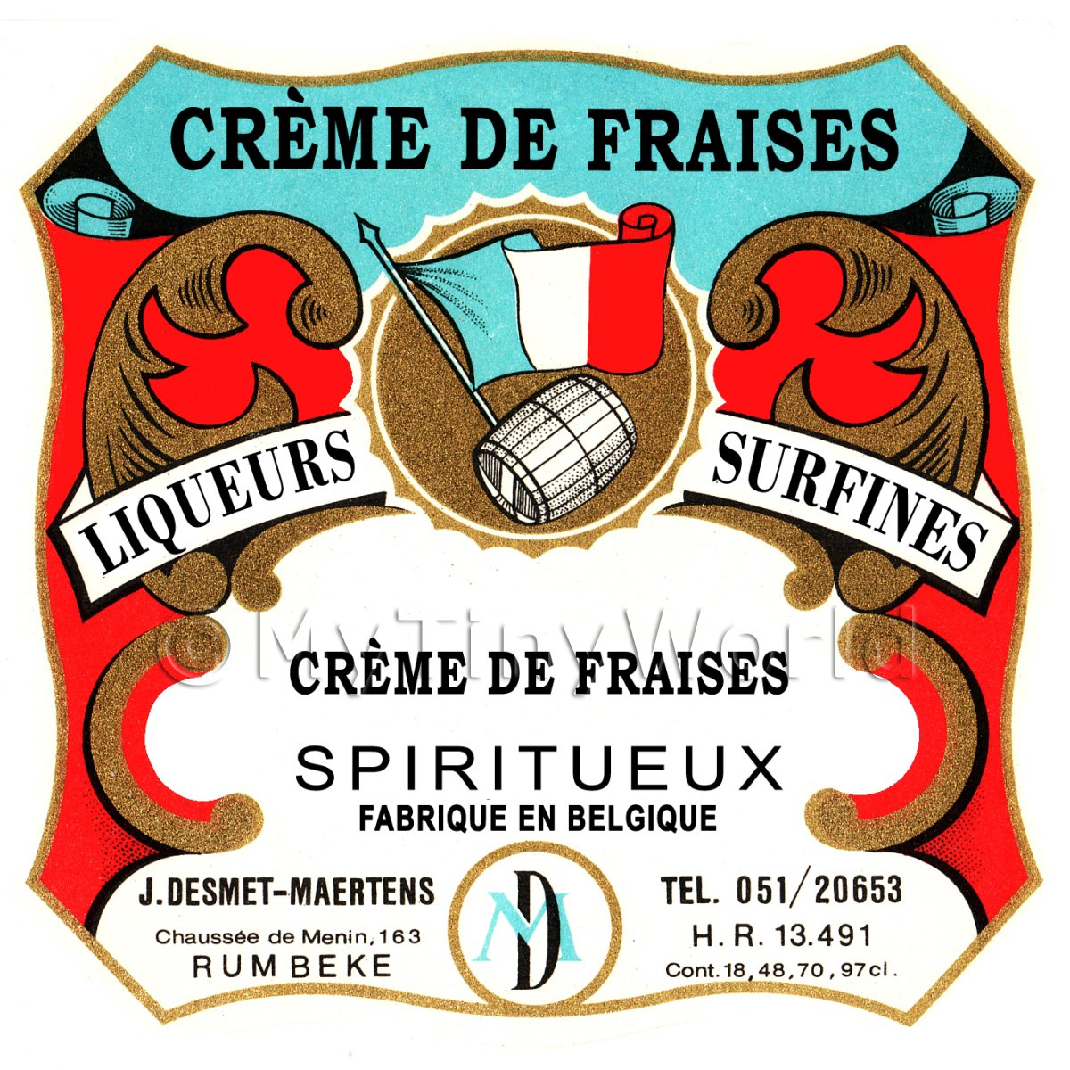 Creme De Fraises (Strawberry) Mini Dolls House Liqueur Label