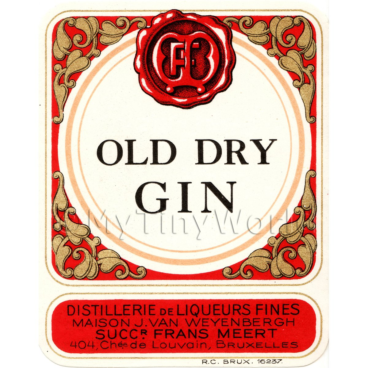 Old Dry Gin Miniature Dolls House Liqueur Label
