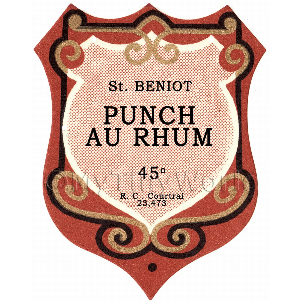 Benoit Punch Au Rhum Miniature Dolls House Liqueur Label