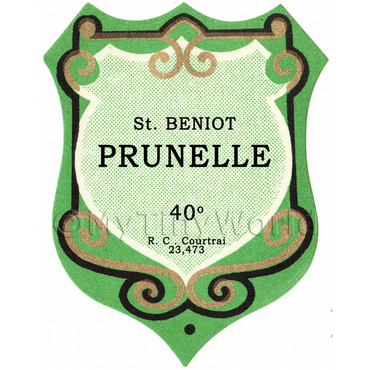 Benoit Prunelle Miniature Dolls House Liqueur Label