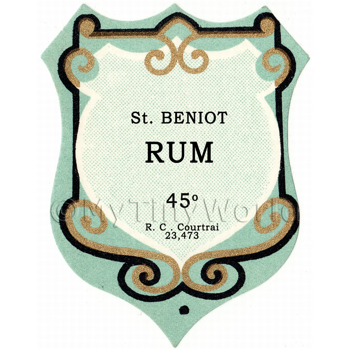 Benoit Rum Miniature Dolls House Liqueur Label