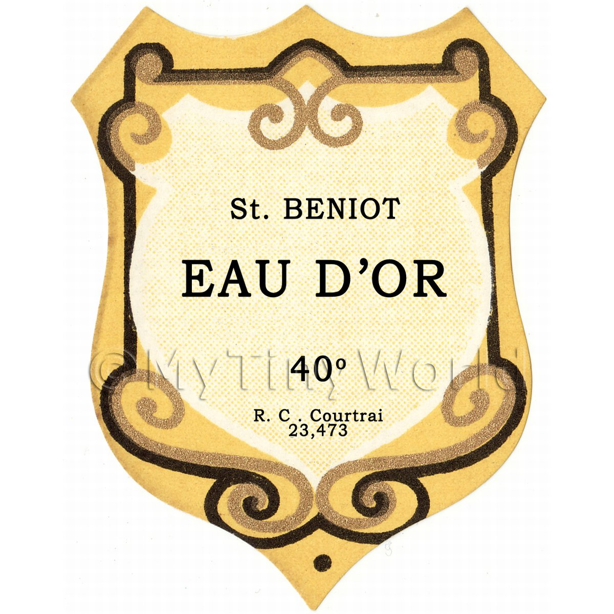 Benoit Eau Dor Miniature Dolls House Liqueur Label