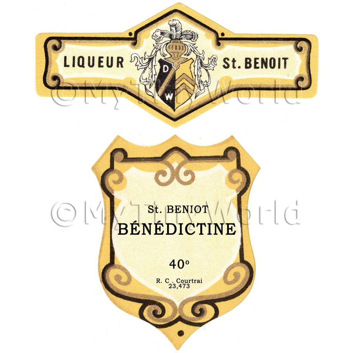 Matched Benoit Benedictine Miniature Dolls House Liqueur Labels