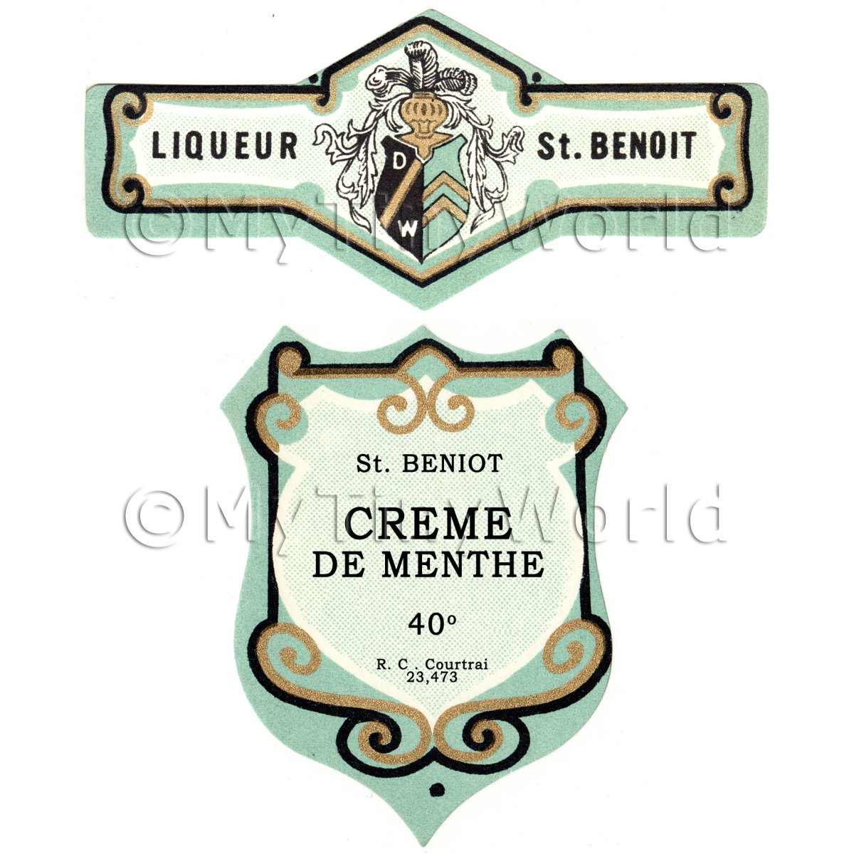 Matched Benoit Creme De Menthe Miniature Dolls House Liqueur Labels