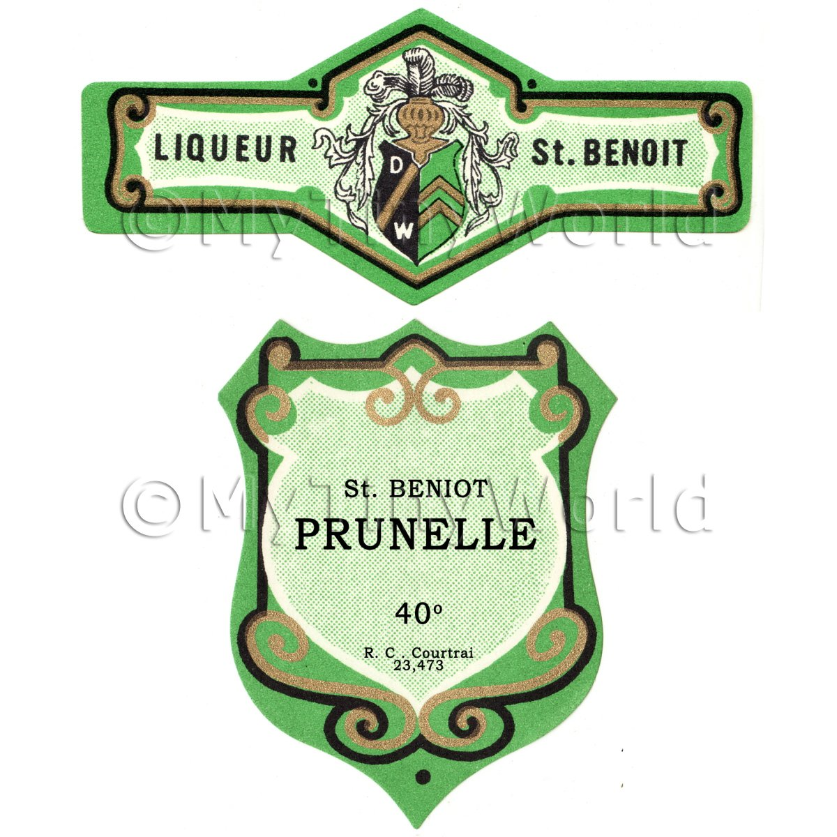 Matched Benoit Prunelle Miniature Dolls House Liqueur Labels