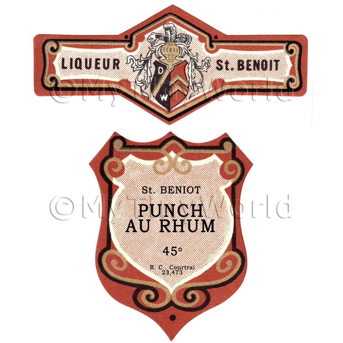 Matched Benoit Punch Au Rhum Miniature Dolls House Liqueur Labels