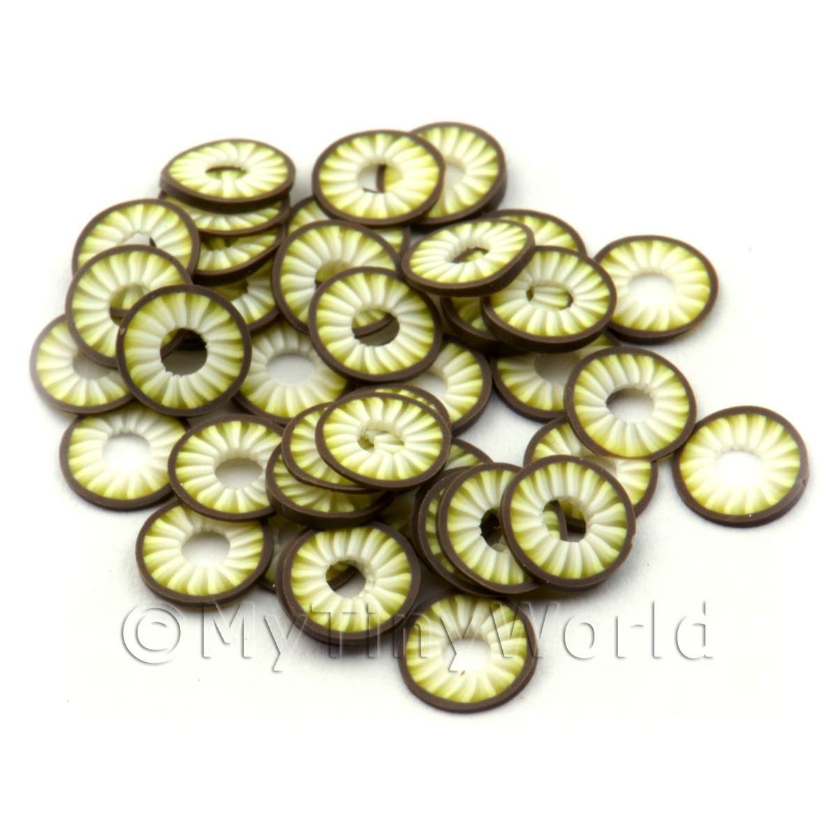 50 Handmade Coconut Ring Cane Slices  - Nail Art (ENS30)