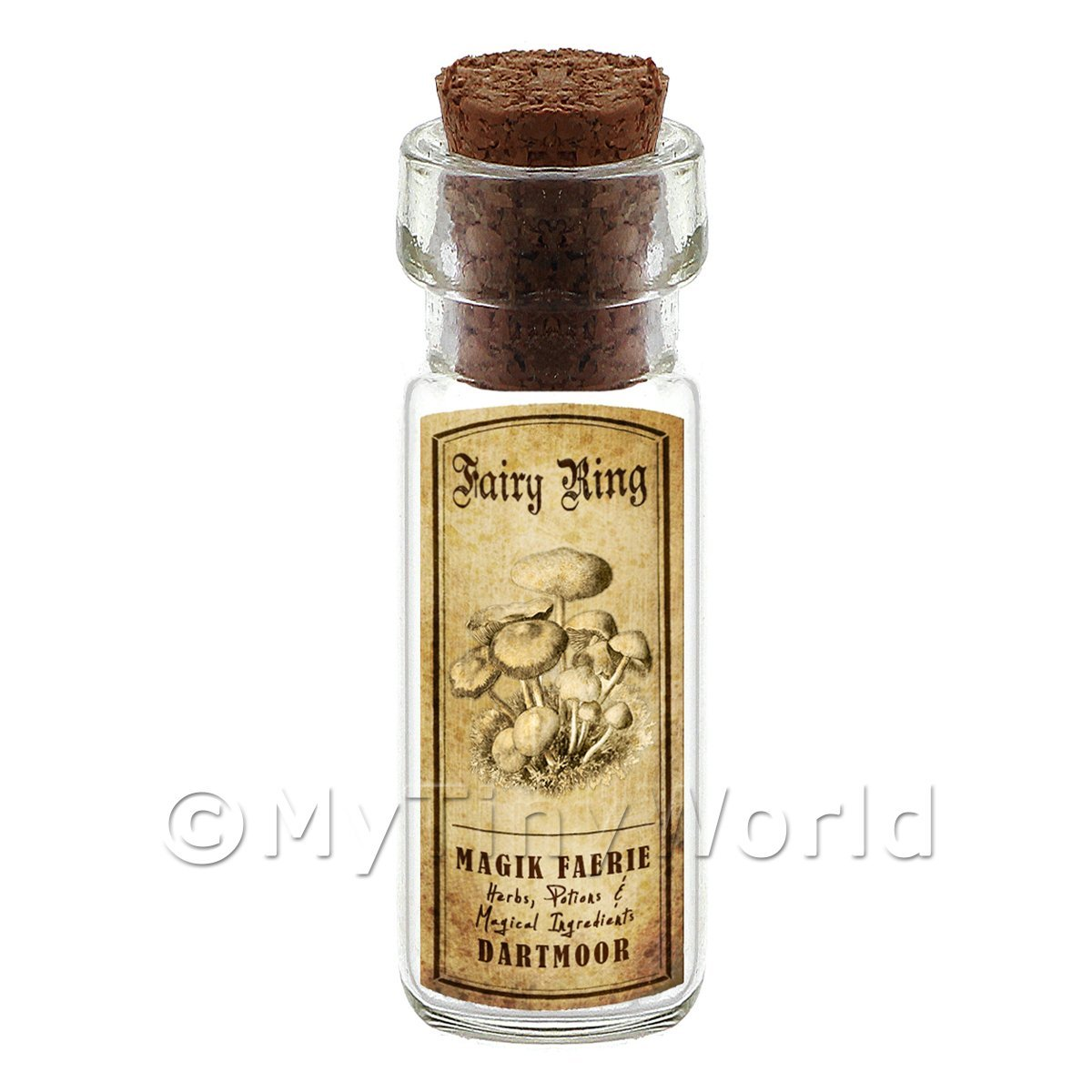 Dolls House Miniature Apothecary Fairy Ring Fungi Bottle And Label