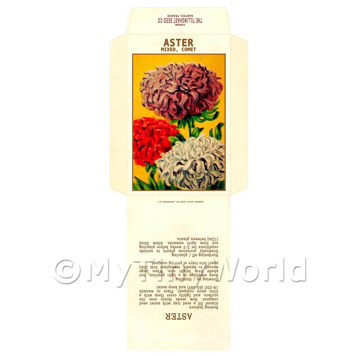 Aster Comet Dolls House Miniature Seed Packet