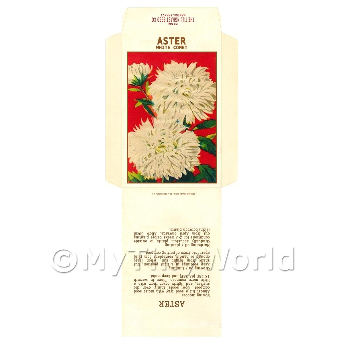 White Aster Dolls House Miniature Seed Packet