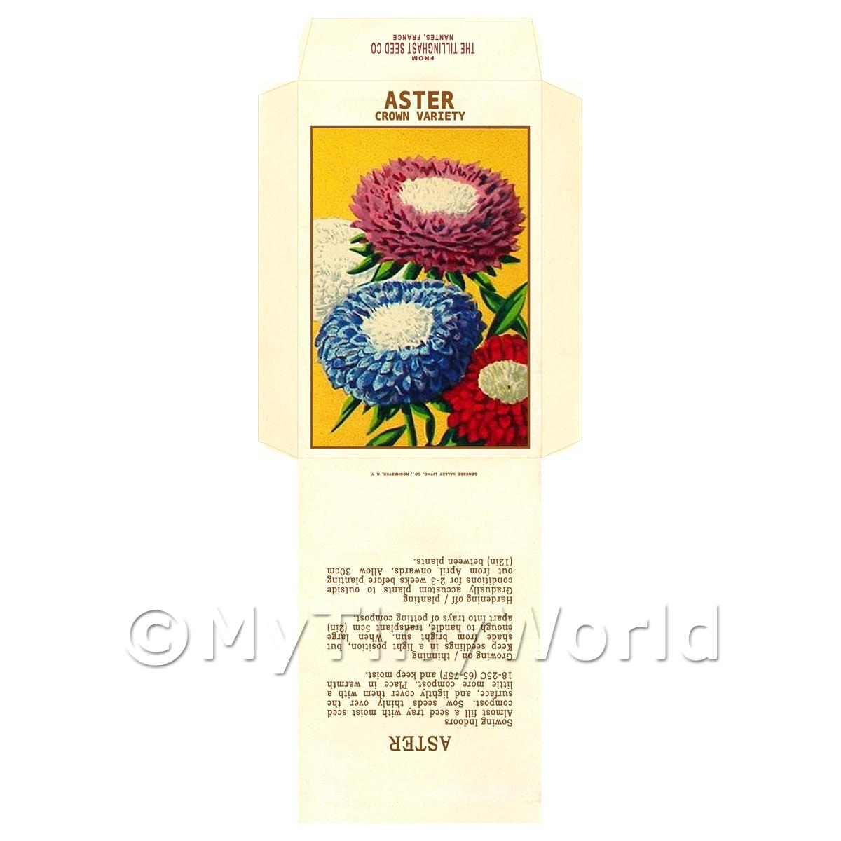 Crown Aster Dolls House Miniature Seed Packet