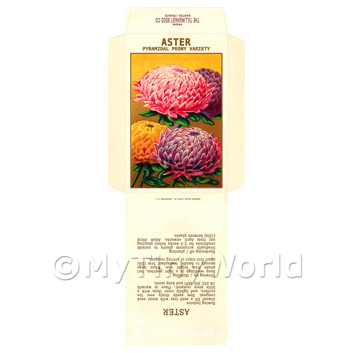 Peony Aster Dolls House Miniature Seed Packet