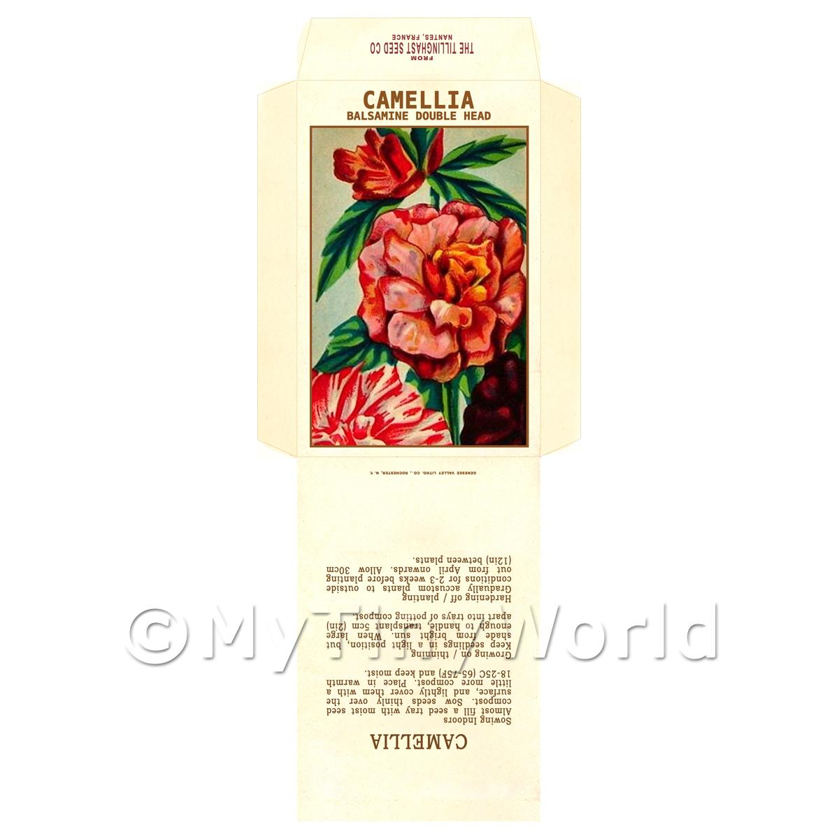 Camellia Balsamine Double Head Dolls House Miniature Seed Packet