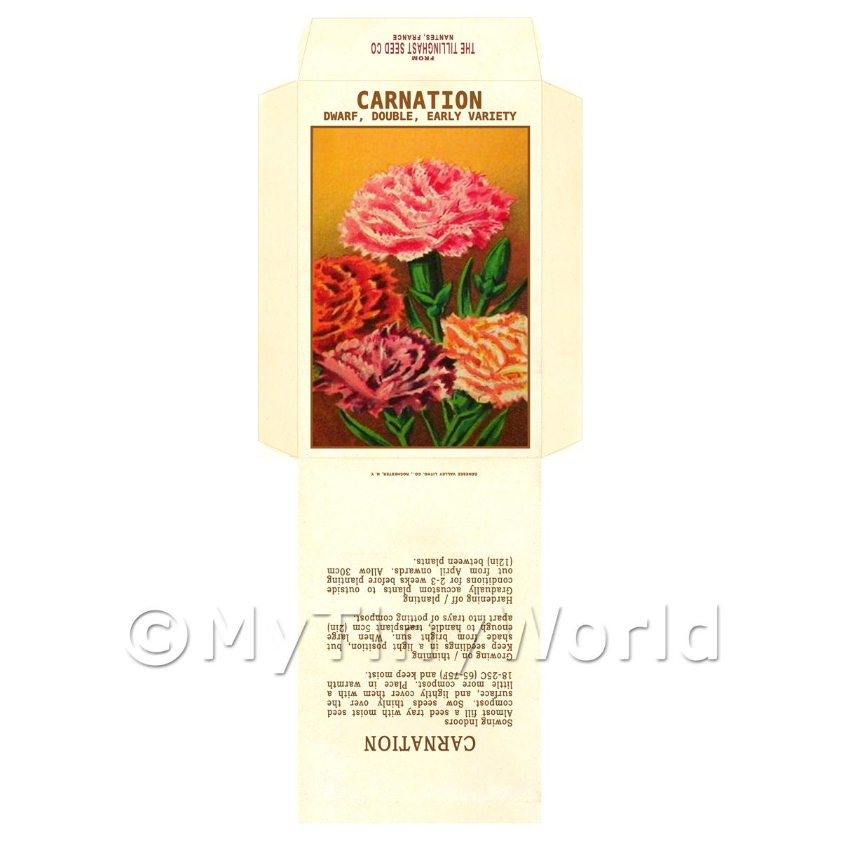 Early Carnation Dolls House Miniature Seed Packet