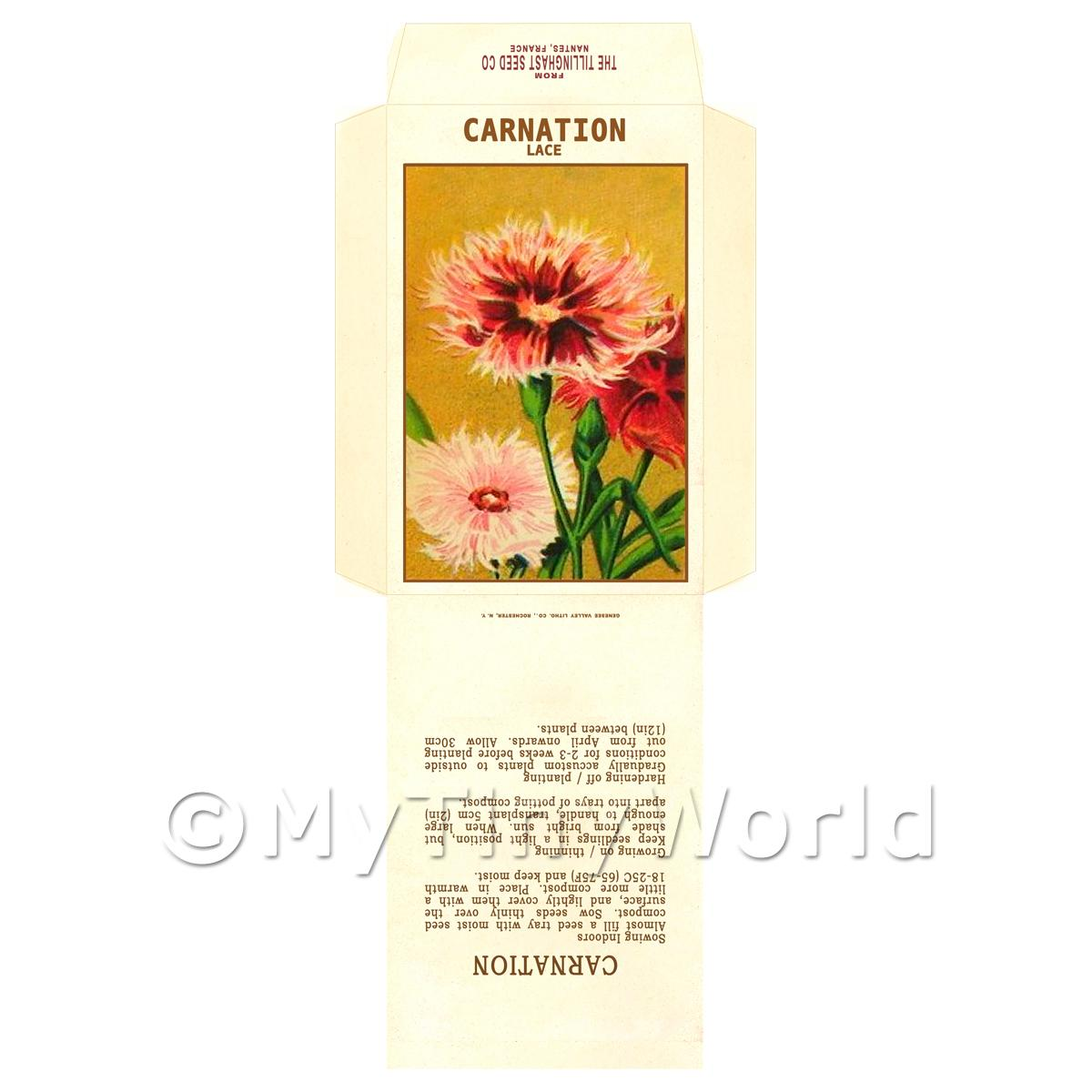 Lace Carnation Dolls House Miniature Seed Packet