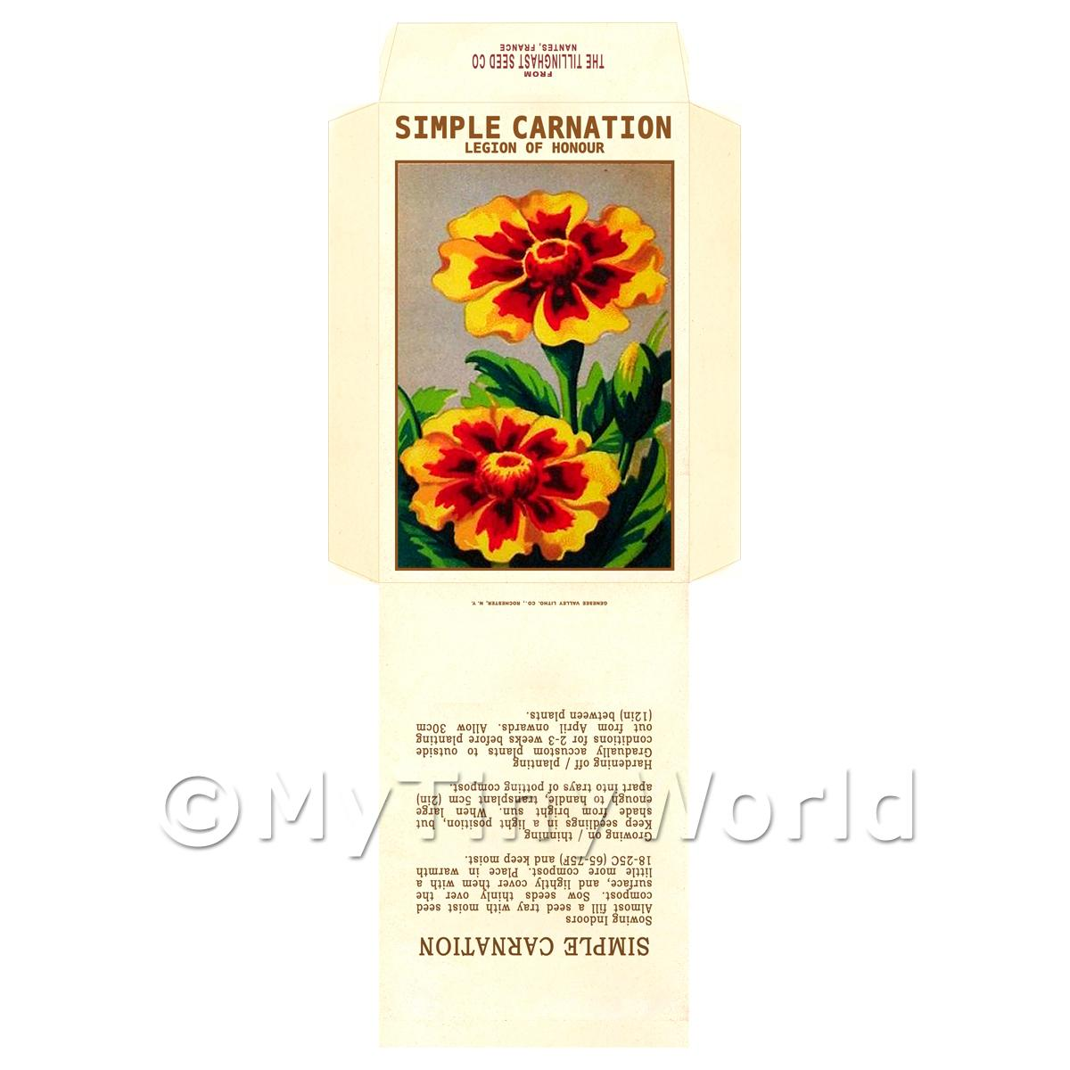 Simple Carnation Dolls House Miniature Seed Packet