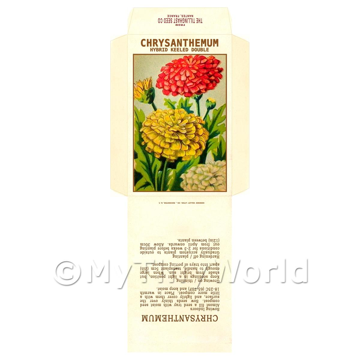 Hybrid Keeled Double Chrysanthemum Dolls House Miniature Seed Packet