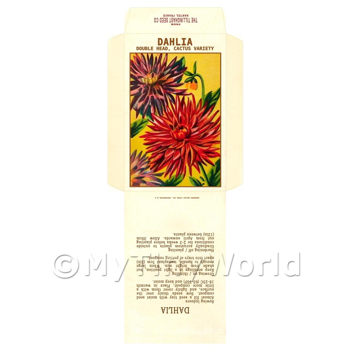 Double Dahlia Dolls House Miniature Seed Packet
