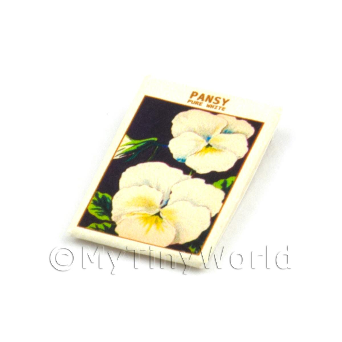 Dolls House Flower Seed Packet - White Pansy