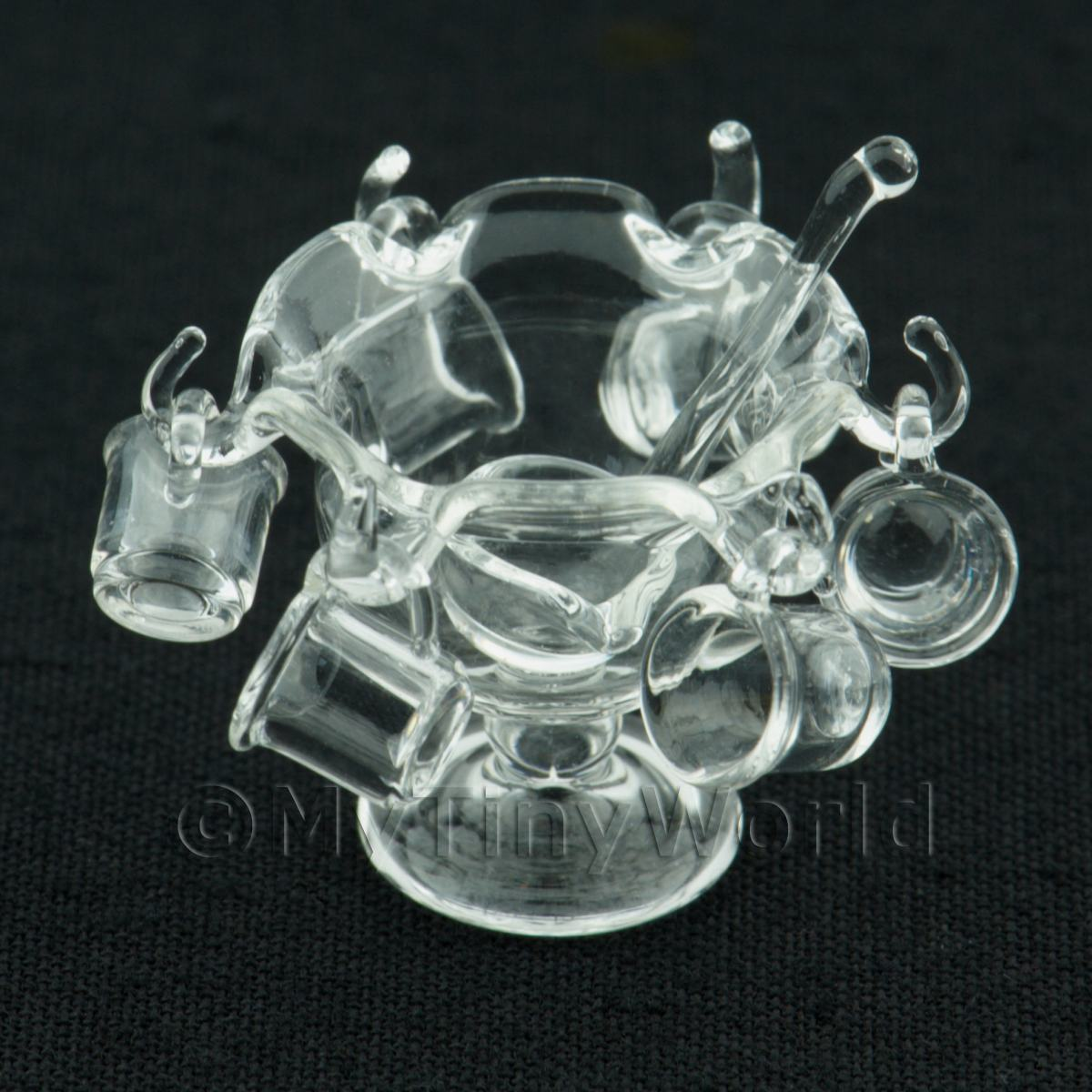 Dolls House Miniature Small Clear Glass Punch Bowl   6 Glasses