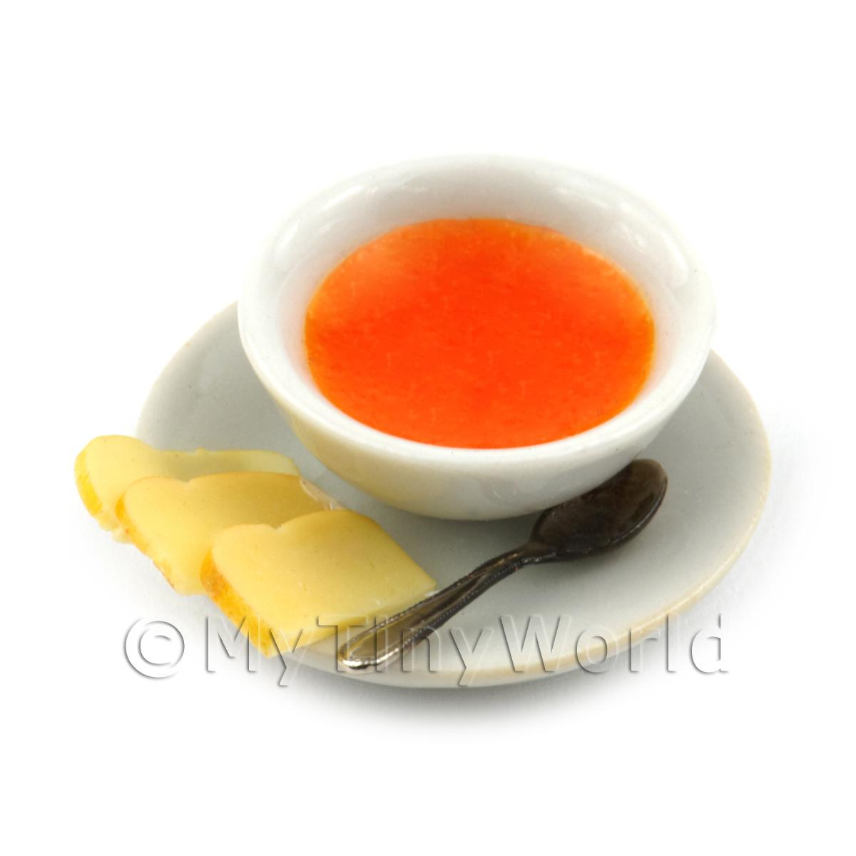 Dolls House Miniature Bowl of Tomato Soup And Bread