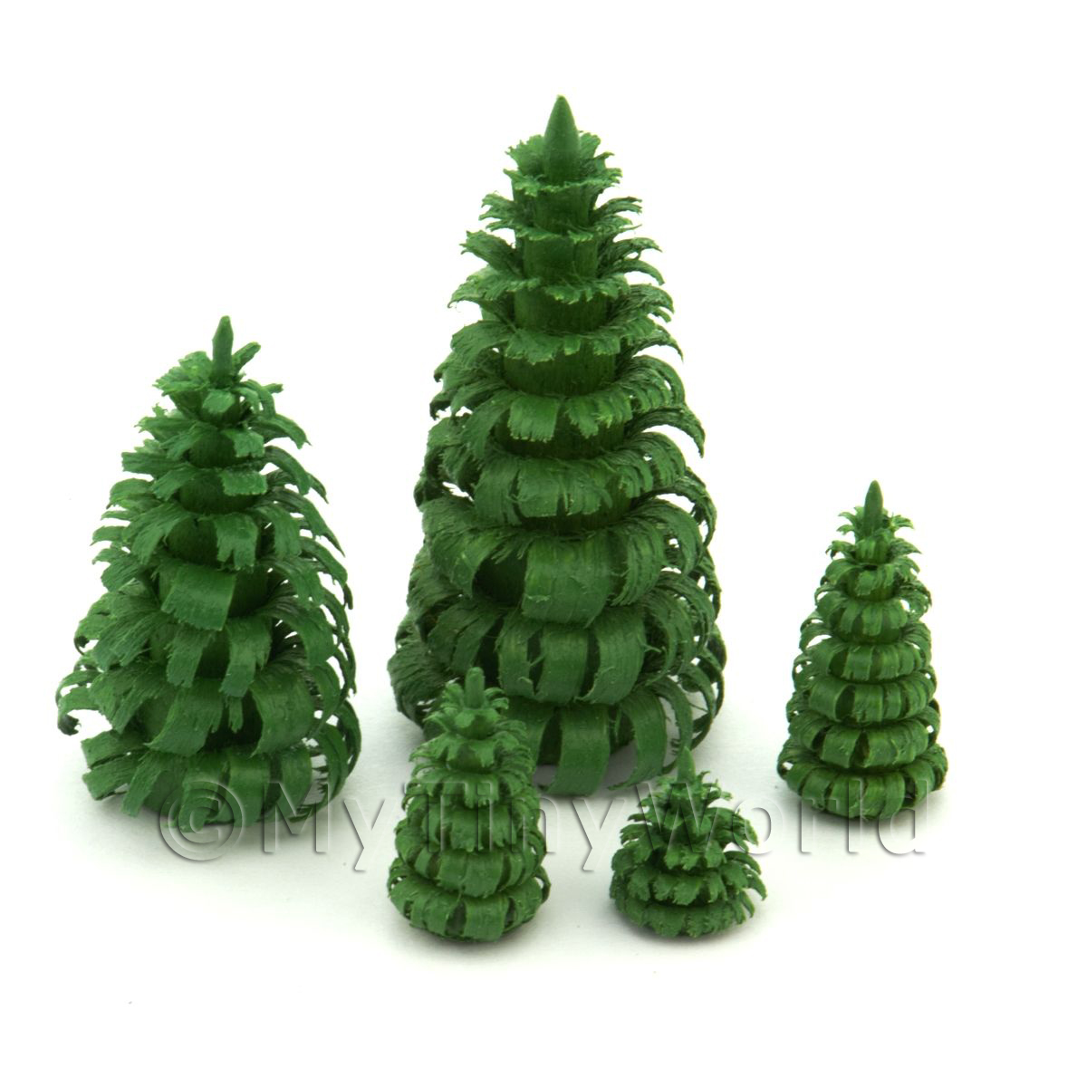 Dolls House Miniature Set of 5 Green Trees