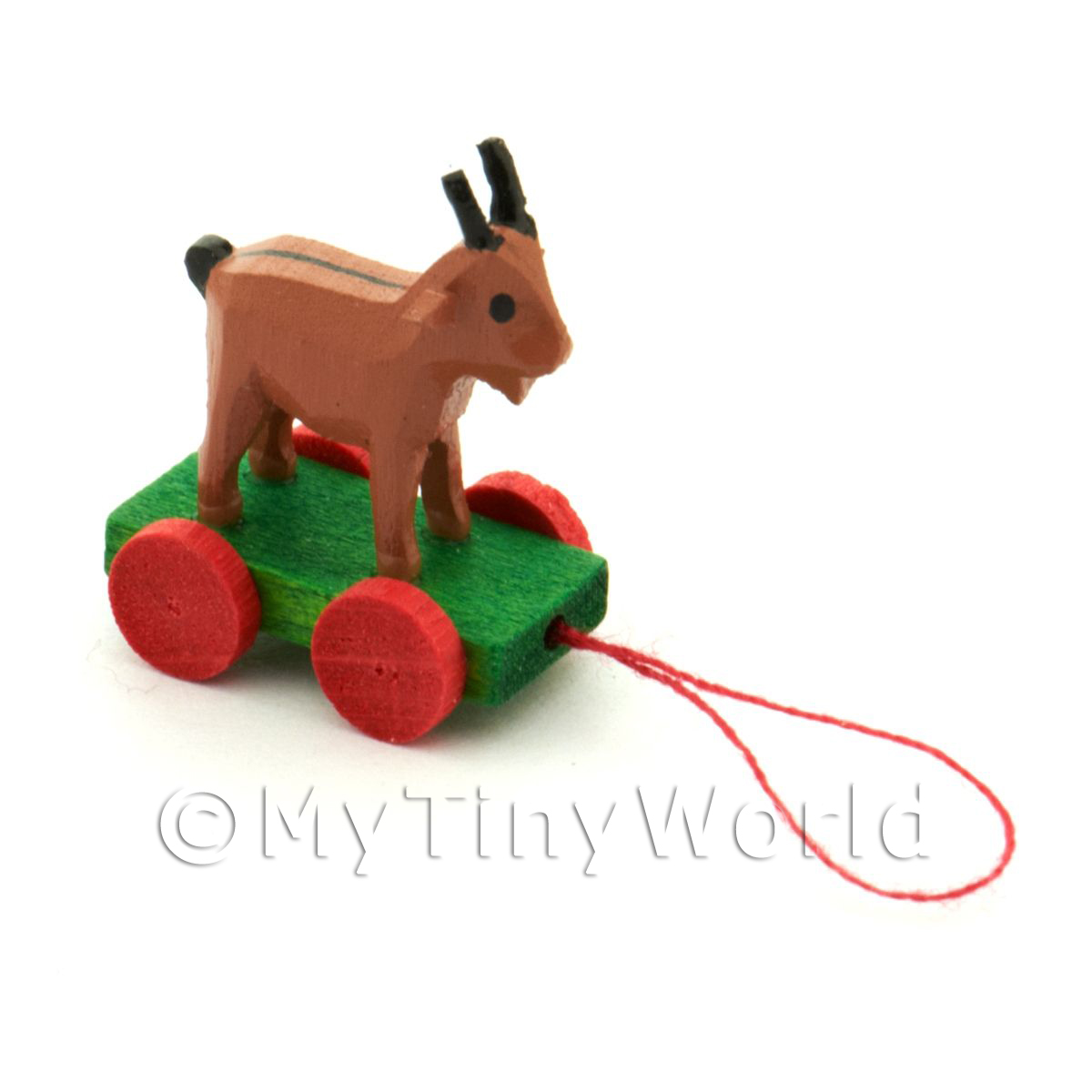 Dolls House Miniature Small Pull-along Brown Goat
