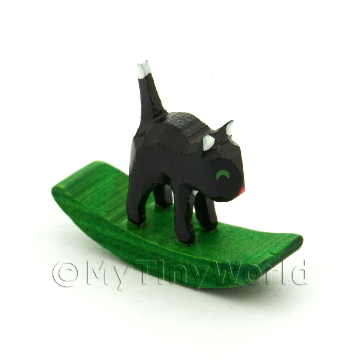 German Crafted Dolls House 20mm Rocking Black Cat