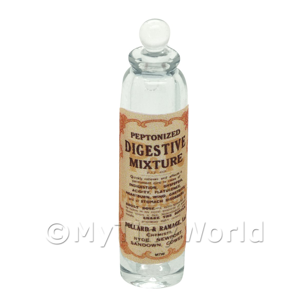 Miniature Digestive Mixture Clear Glass Apothecary Bottle