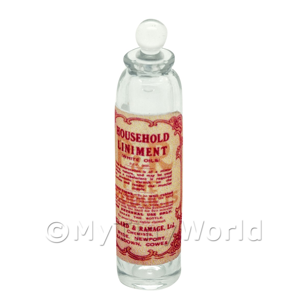 Miniature Household Liniment Clear Glass Apothecary Bottle