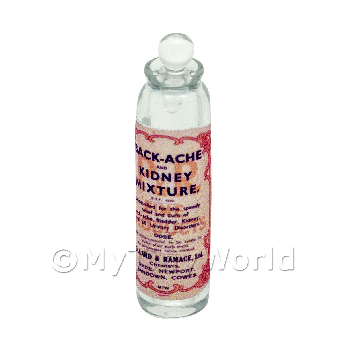 Miniature Kidney Mixture Clear Glass Apothecary Bottle