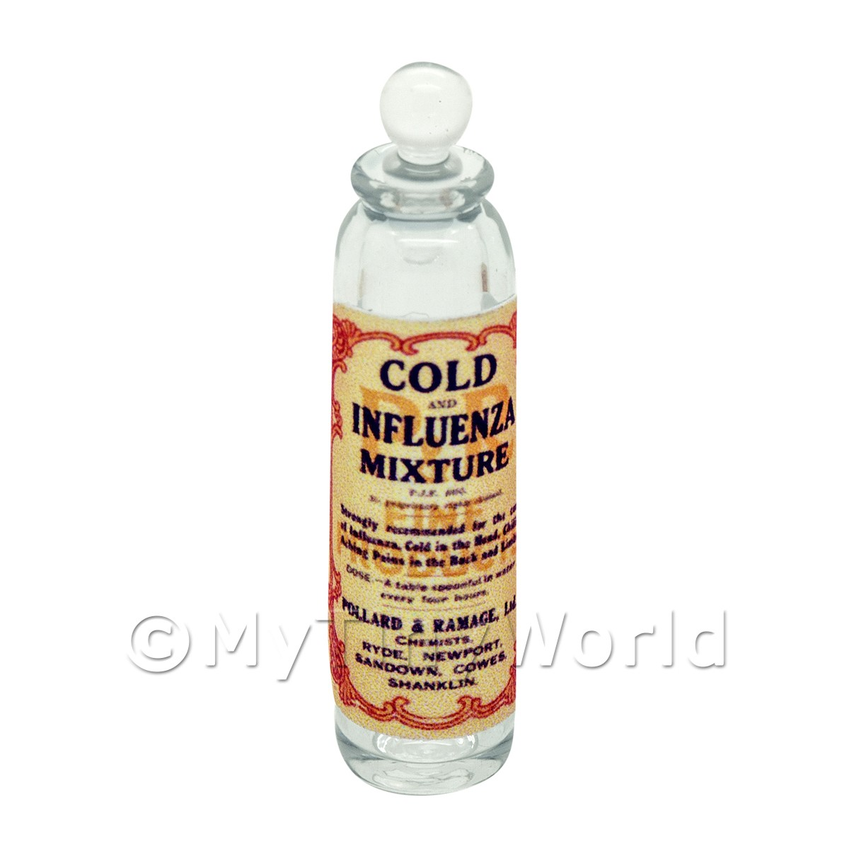 Miniature Influenza Mixture Clear Glass Apothecary Bottle