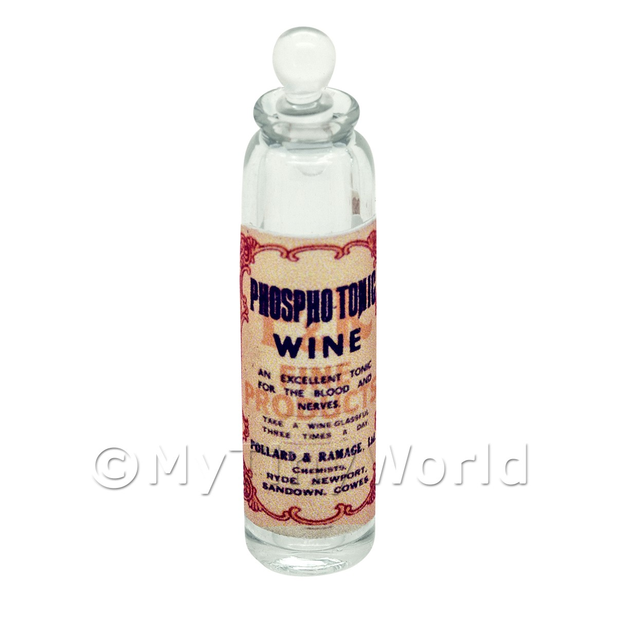 Miniature Phosphotonic Wine Clear Glass Apothecary Bottle