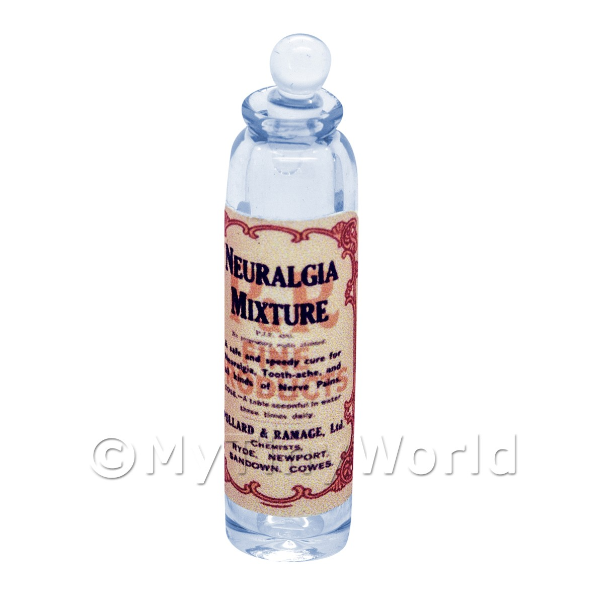 Miniature Neuralgia Mixture Blue Glass Apothecary Bottle