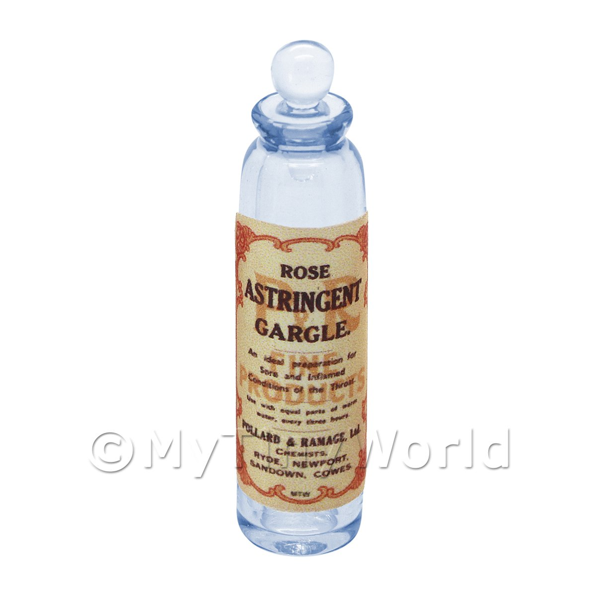 Miniature Rose Astringent Gargle Blue Glass Apothecary Bottle
