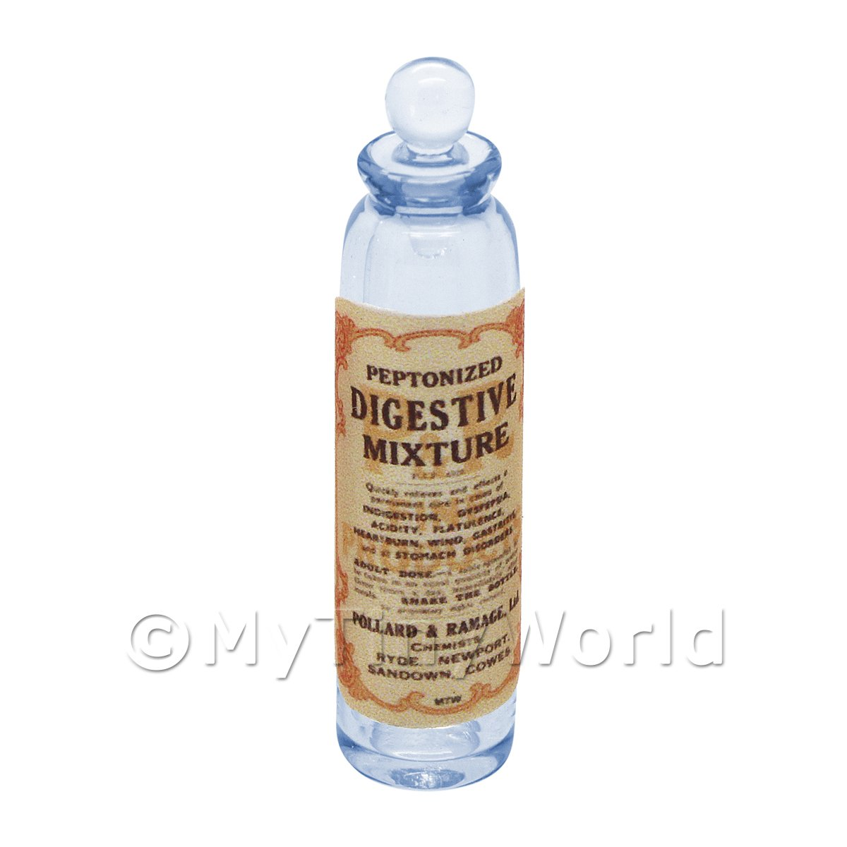 Miniature Digestive Mixture Blue Glass Apothecary Bottle