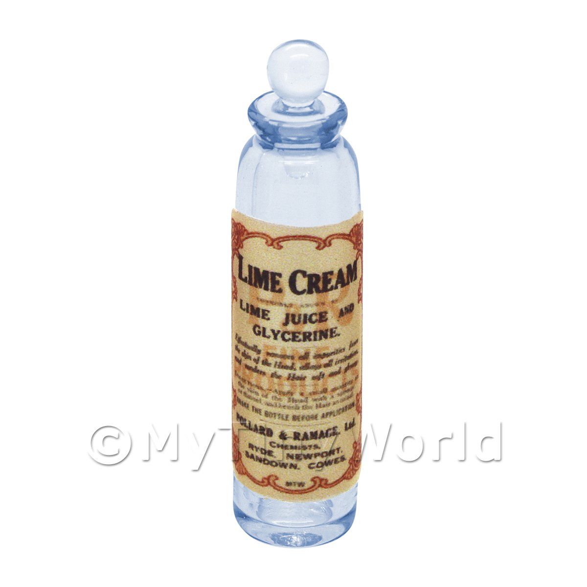 Miniature Lime Cream Blue Glass Apothecary Bottle