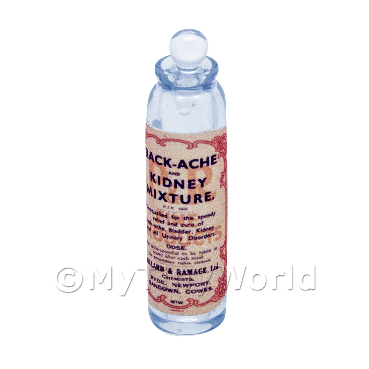 Miniature Kidney Mixture Blue Glass Apothecary Bottle