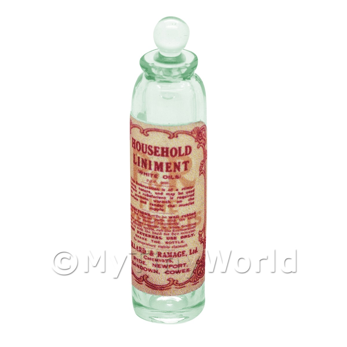 Miniature Household Liniment Green Glass Apothecary Bottle