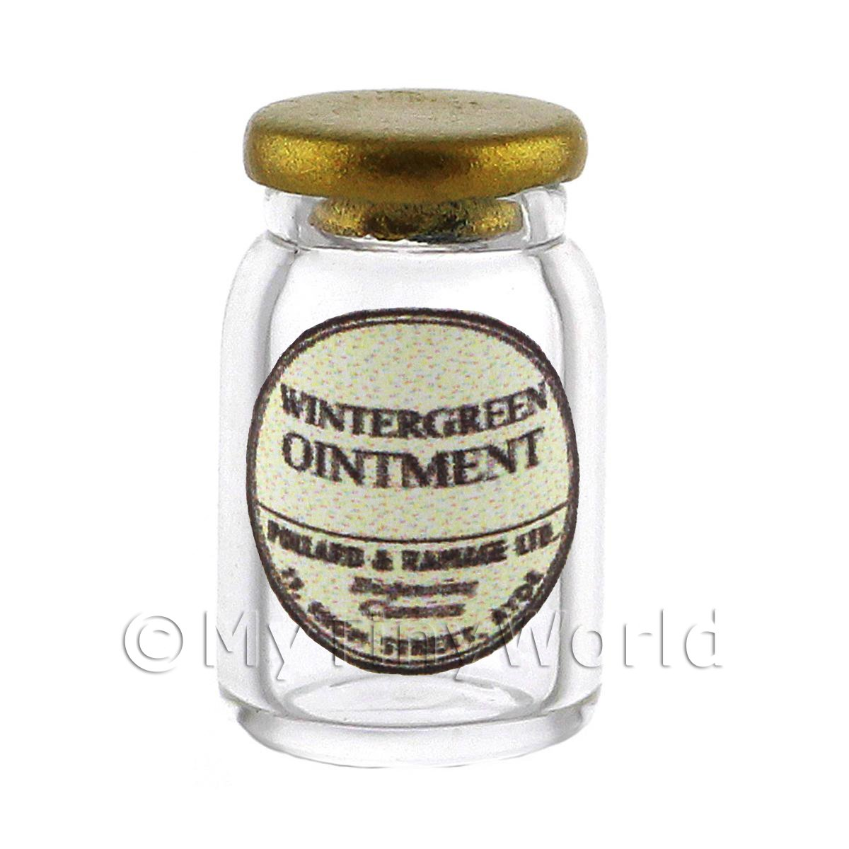Miniature Wintergreen Ointment Glass Apothecary Ointment Jar