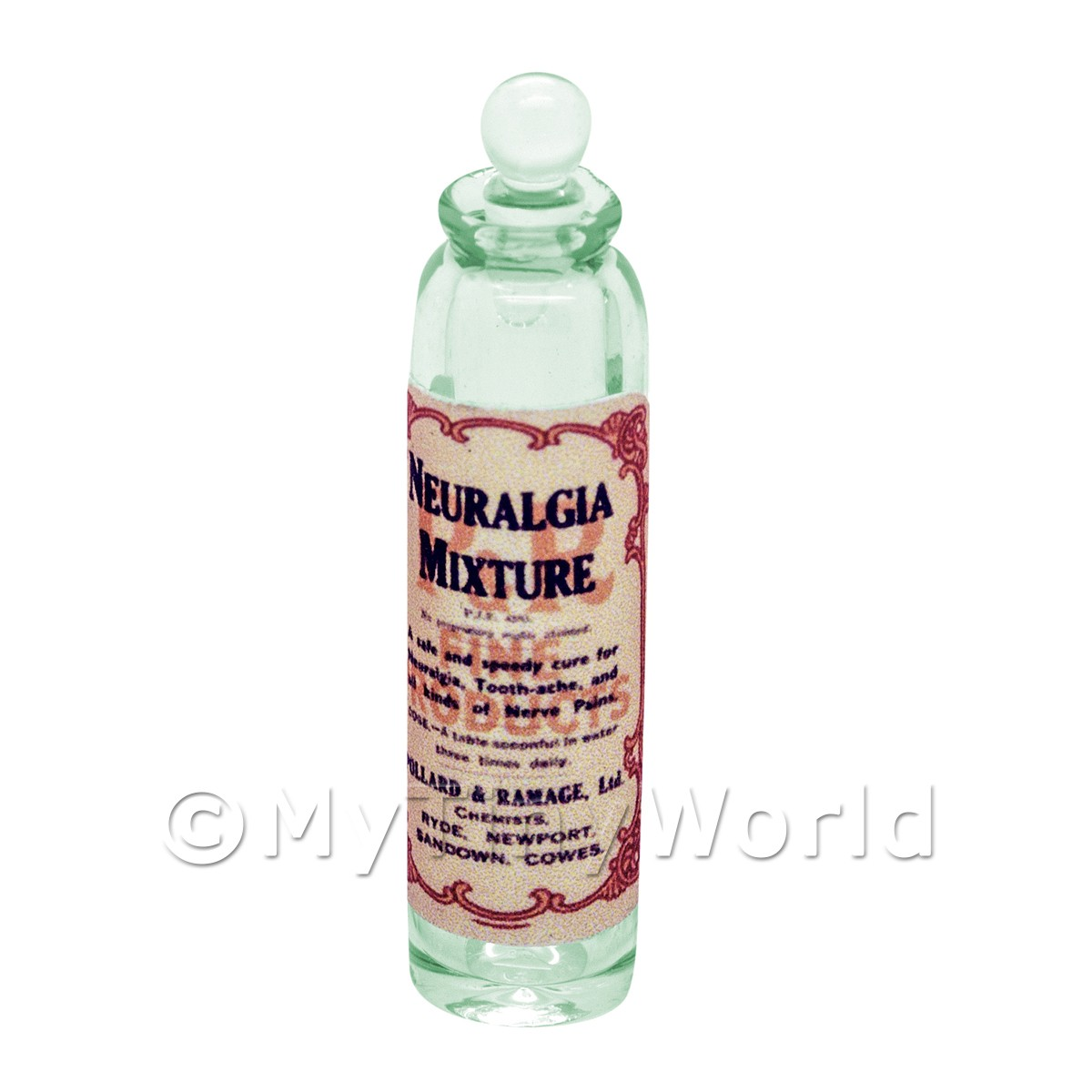 Miniature Neuralgia Mixture Green Glass Apothecary Bottle