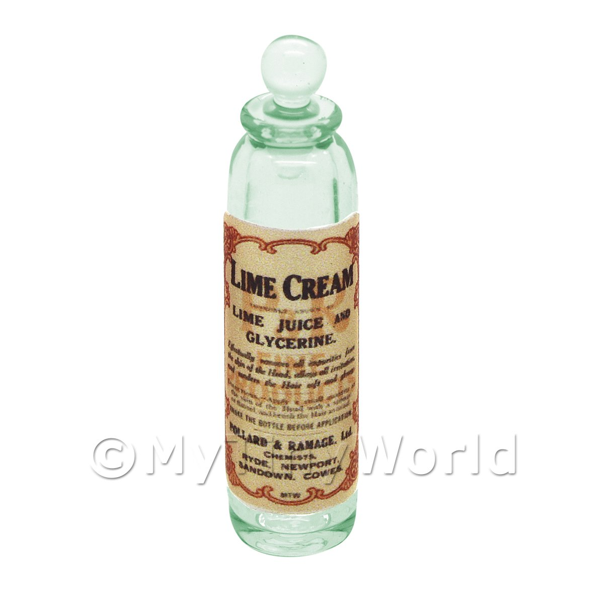 Miniature Lime Cream Green Glass Apothecary Bottle