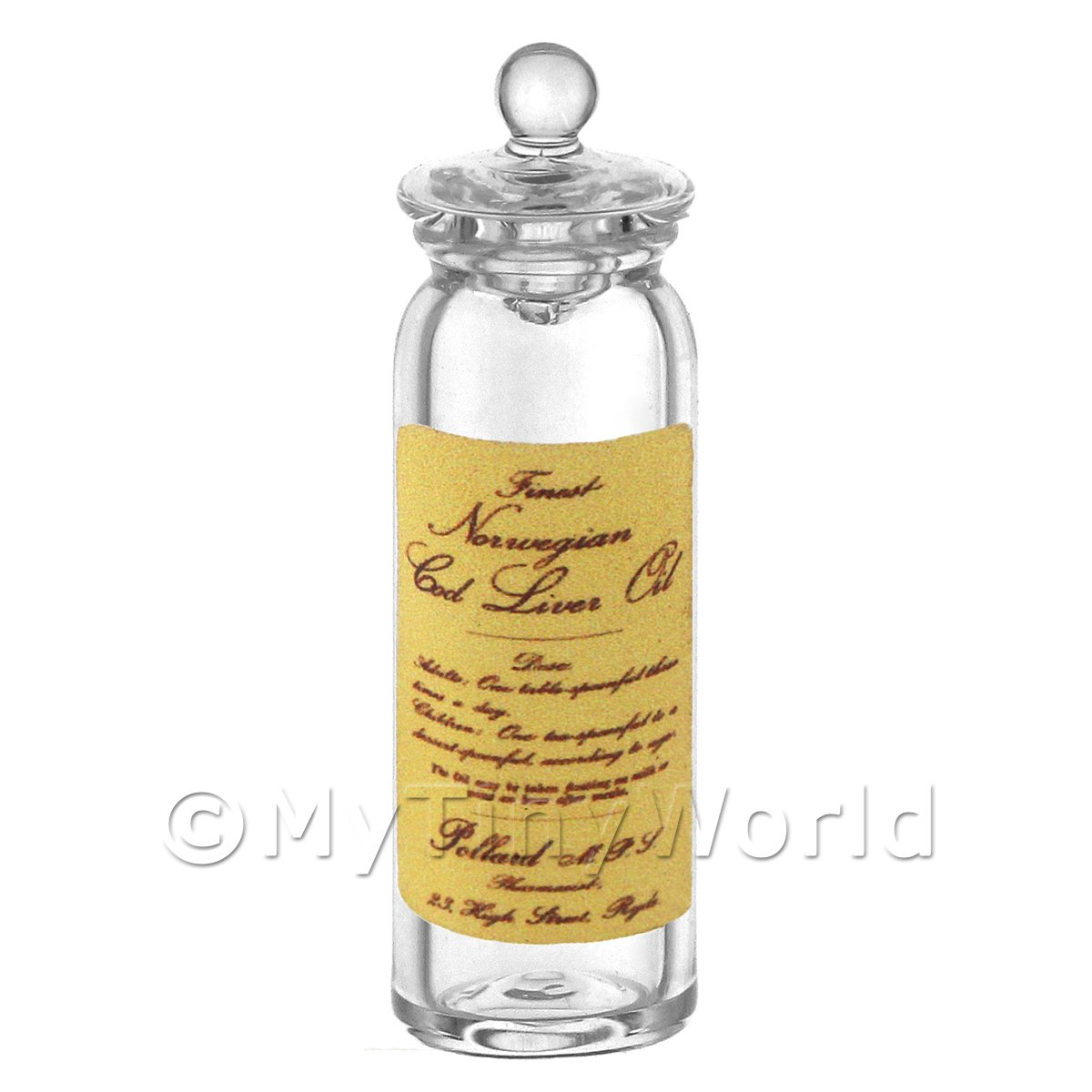 Dolls House Miniature Norwegian Cod Liver Oil Glass Apothecary Storage Jar